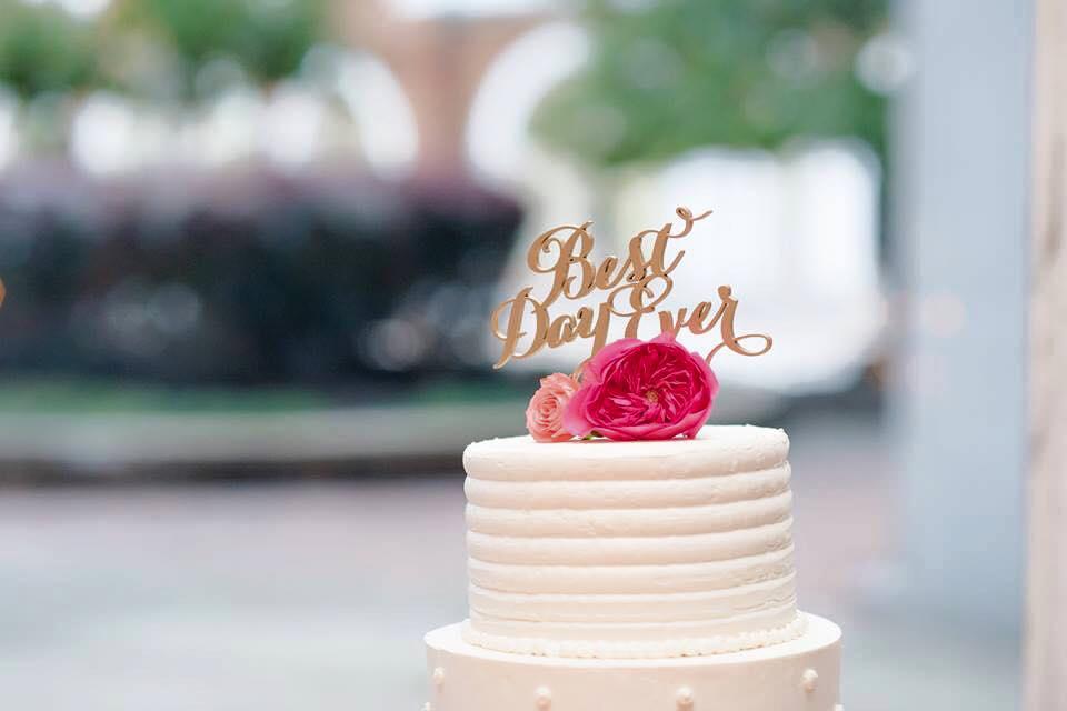 best day ever white buttercream wedding cake