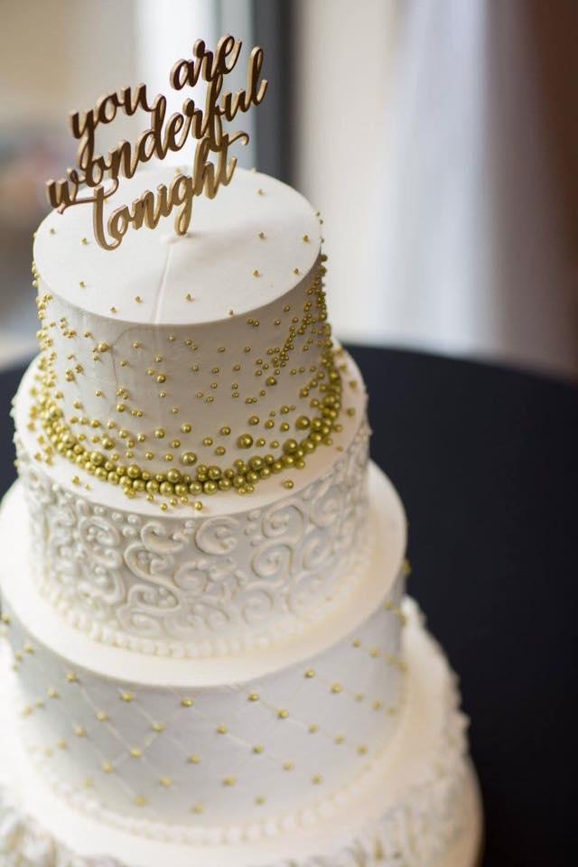 white gold buttercream wedding cake