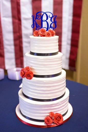 Copy of red white blue buttercream wedding cake