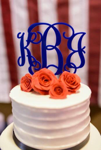 red white blue buttercream wedding cake