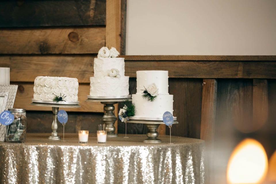 white buttercream wedding cakes