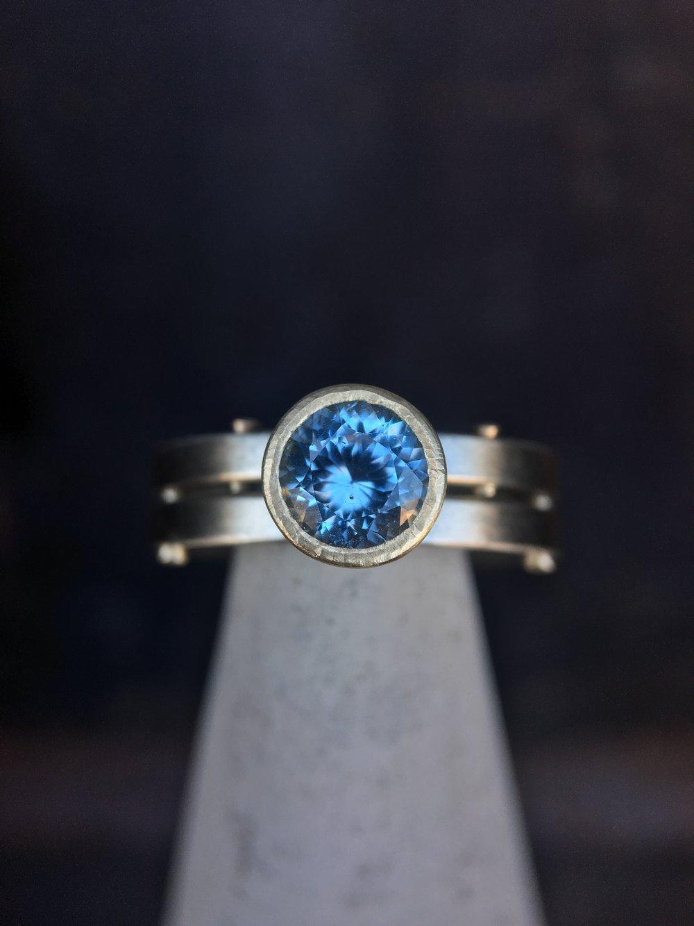Industrial Bling Montana Sapphire 14KT White Gold 14KT Gold Rivet Ring