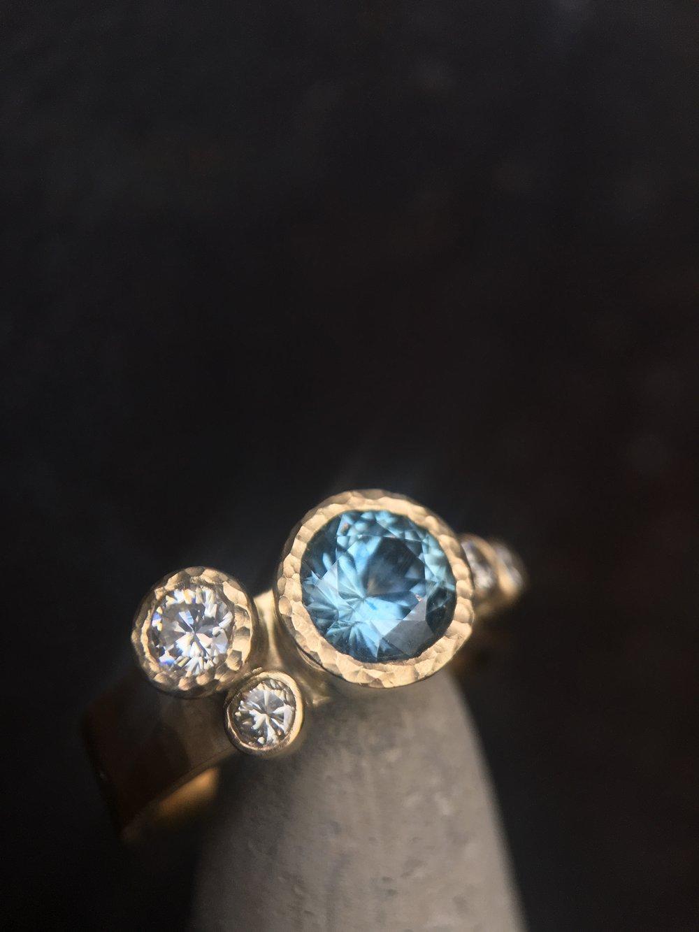 Montana Sapphire Diamonds 14KT Yellow Gold Ring