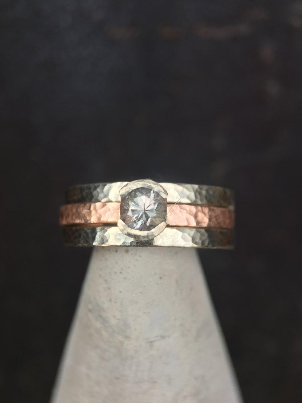 Diamond 14KT Yellow Gold 14KT White Gold Stack Rings