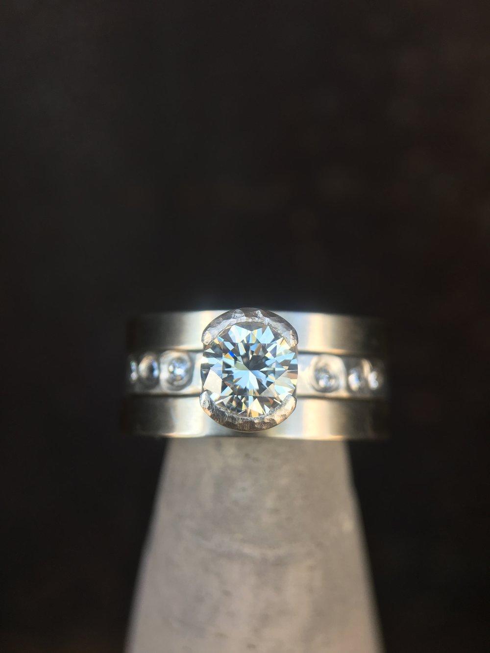 Diamond 14KT White Gold Stack Rings