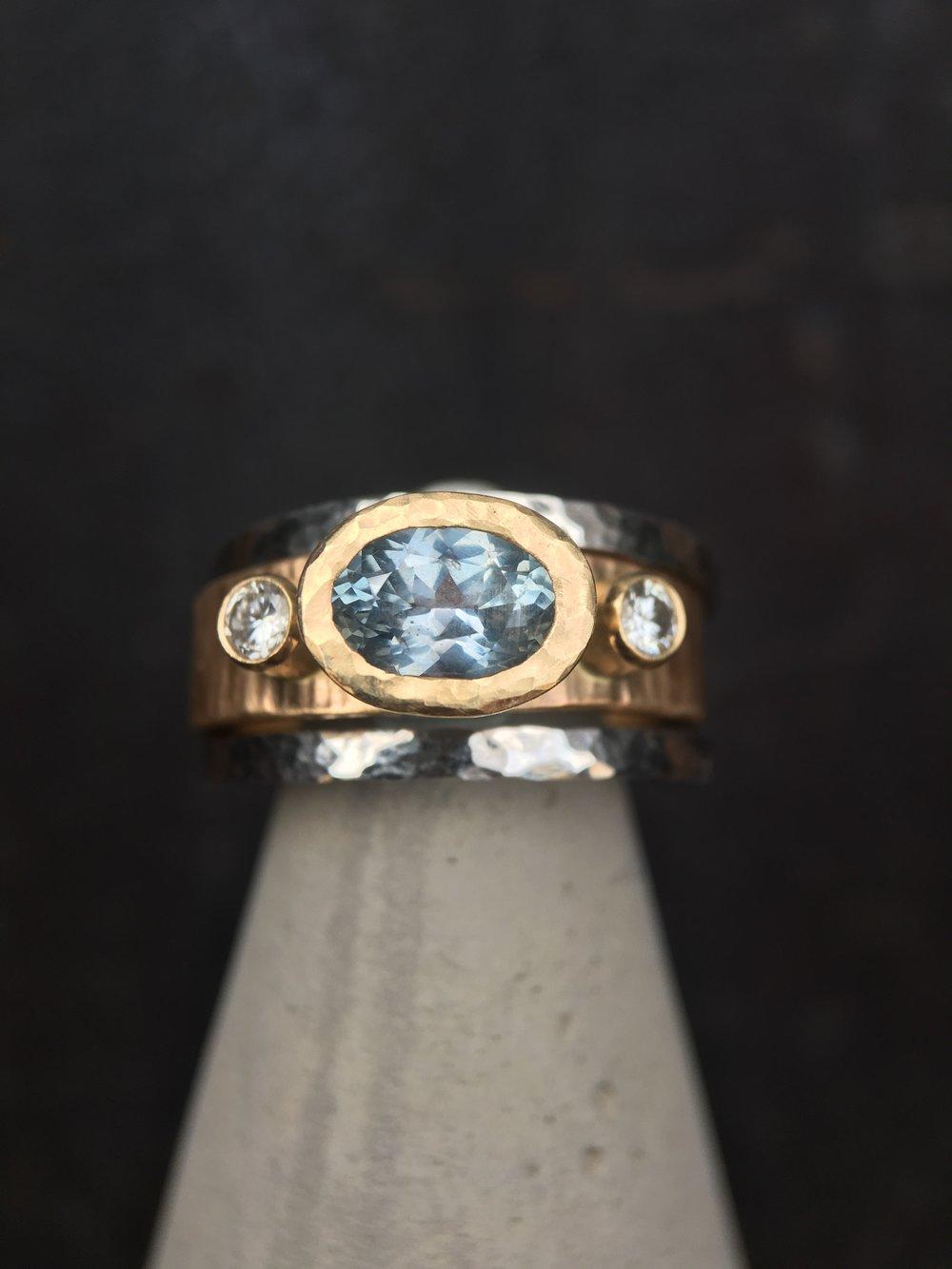 Montana Sapphire Diamonds 14KT White Gold 14KT Yellow Gold Ring