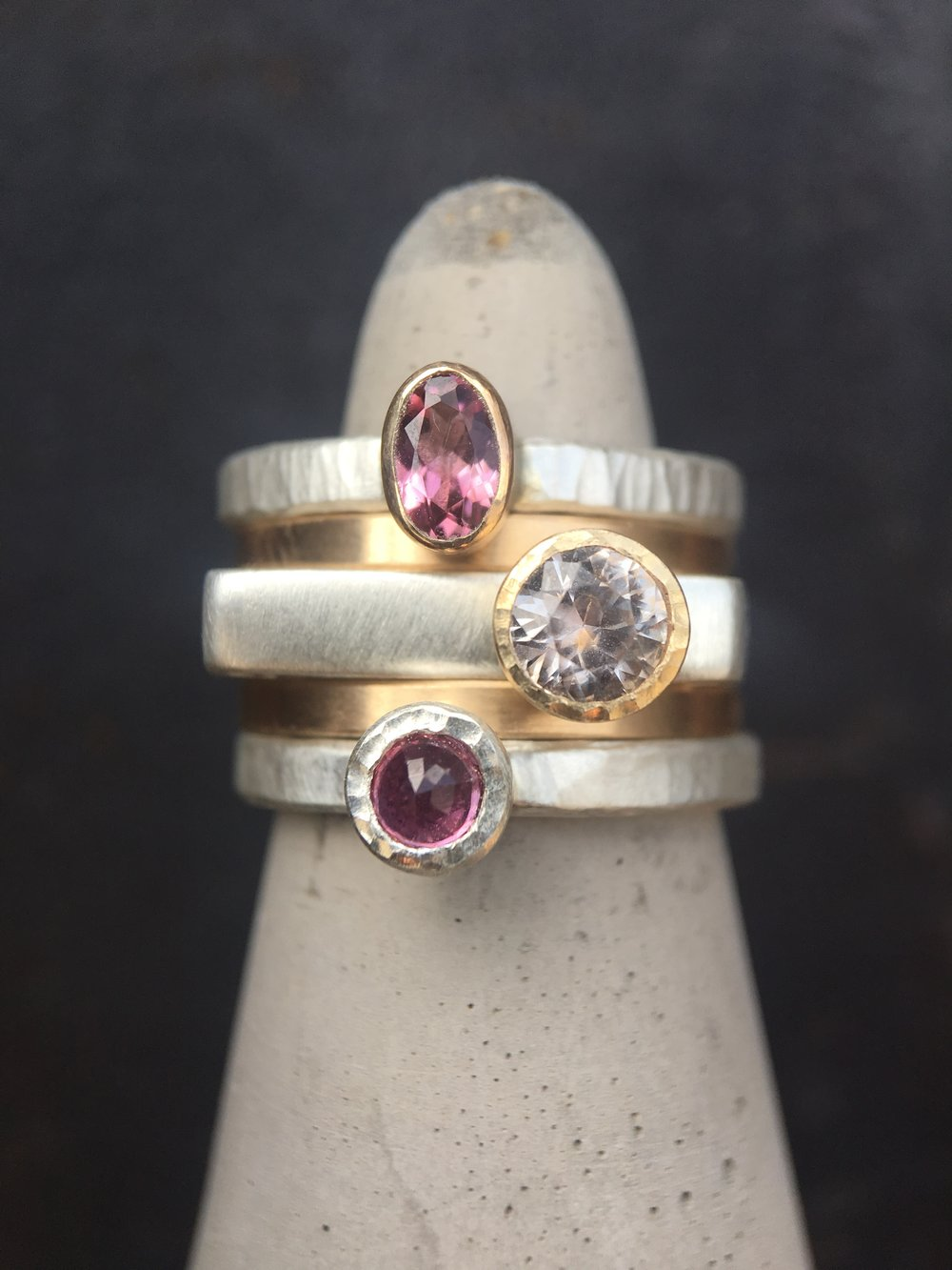 Ruby Pink Tourmaline Diamond 14KT White Gold 14KT Yellow Gold Stack Rings