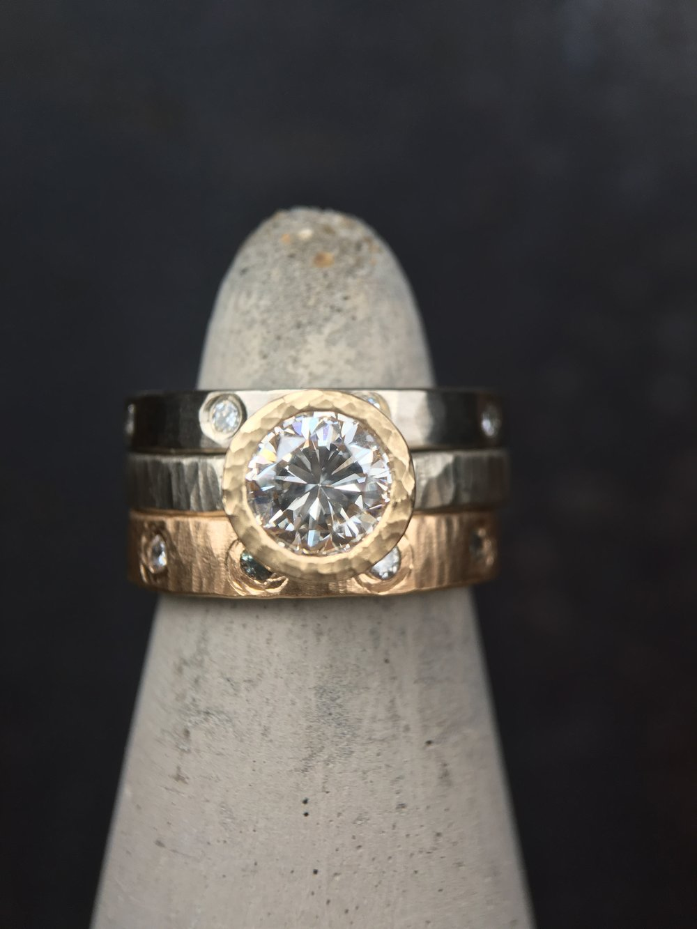 Diamonds 14KT White Gold 14KT Yellow Gold Stack Rings