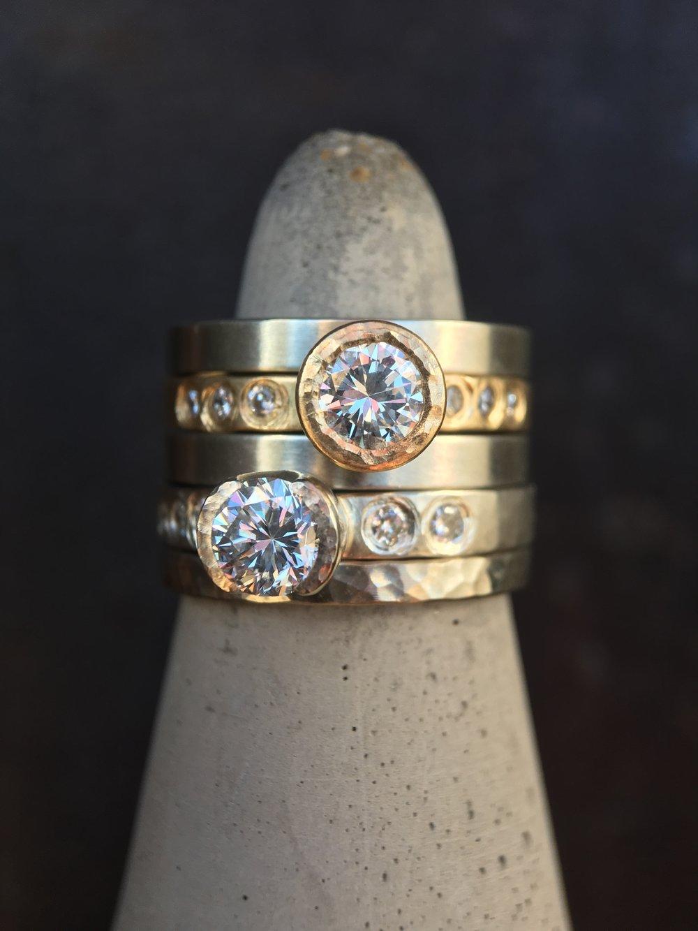 Diamond 14KT White Gold 14KT Yellow Gold Stack Rings