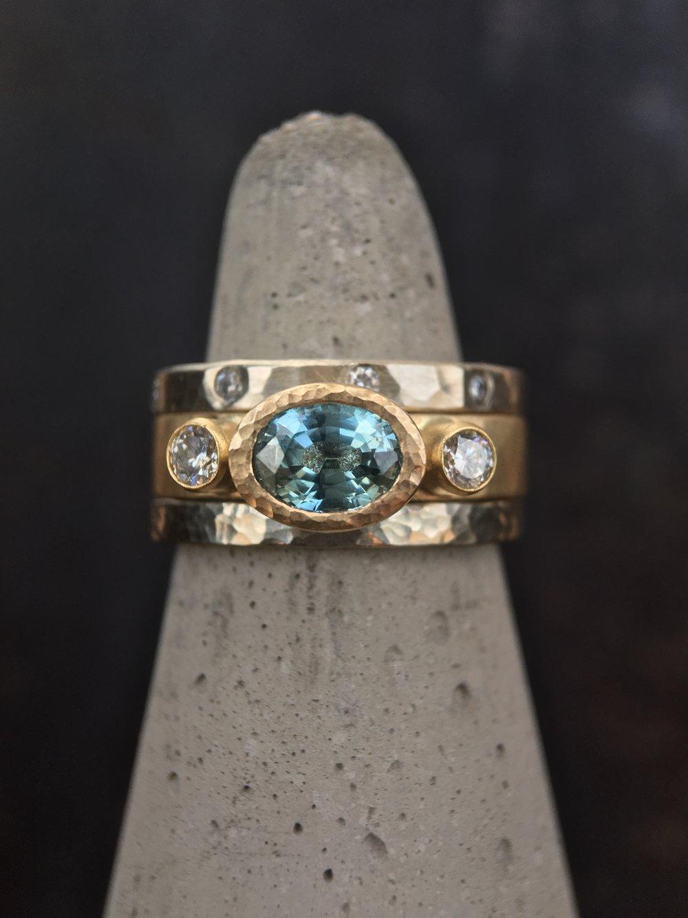 Montana Sapphire Diamond 14KT Yellow Gold 14KT White Gold Stack Rings