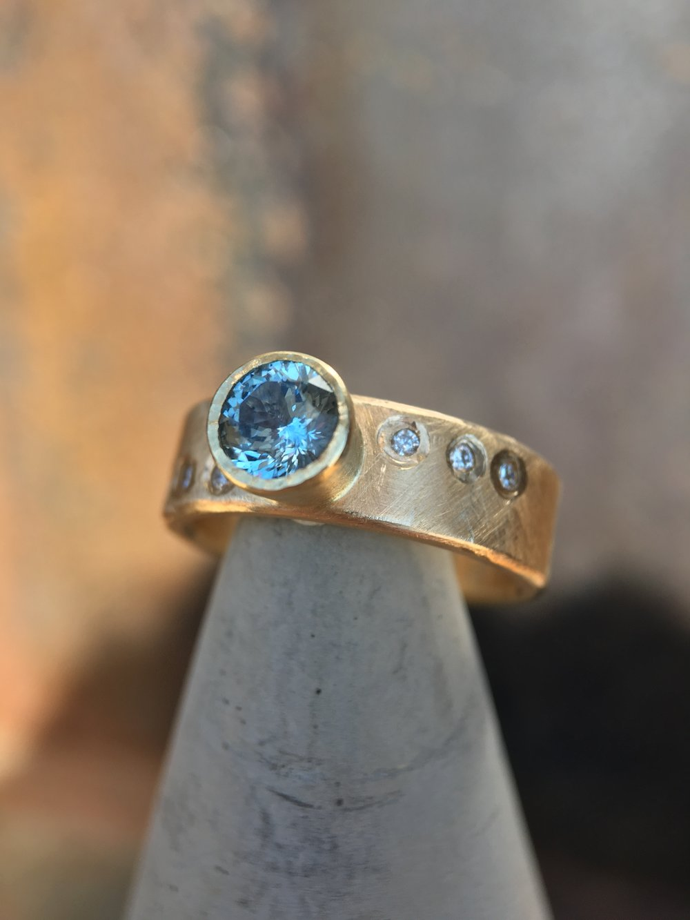 Montana Sapphire Diamond 14KT Yellow Gold Ring