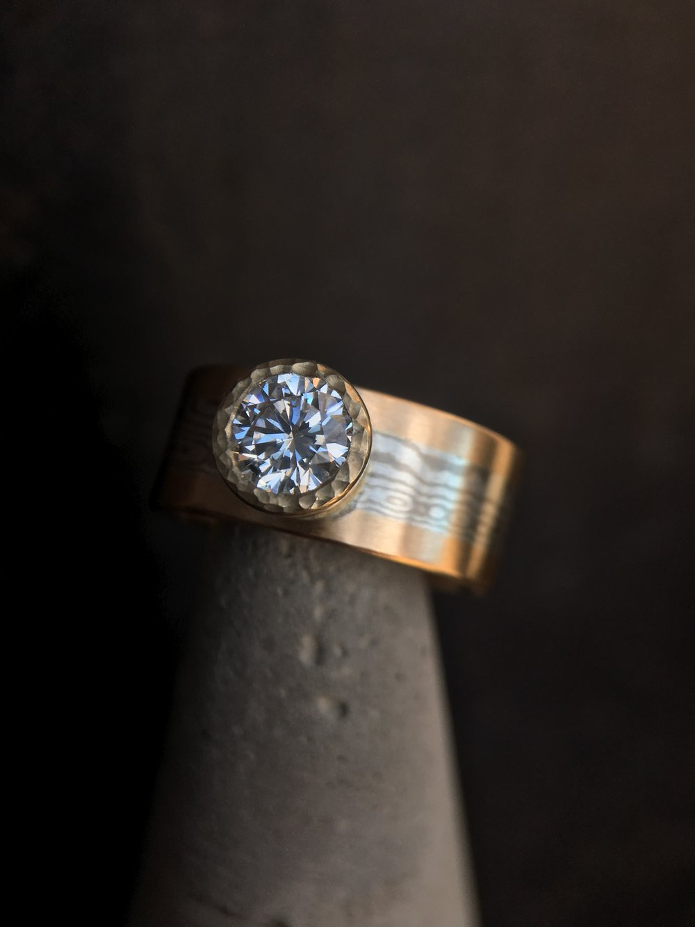 Diamond Mokume' Gane 14KT Yellow Gold Ring