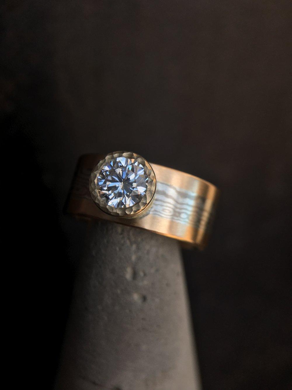 Diamond Mokume' Gane 14KT Yellow Gold Ring