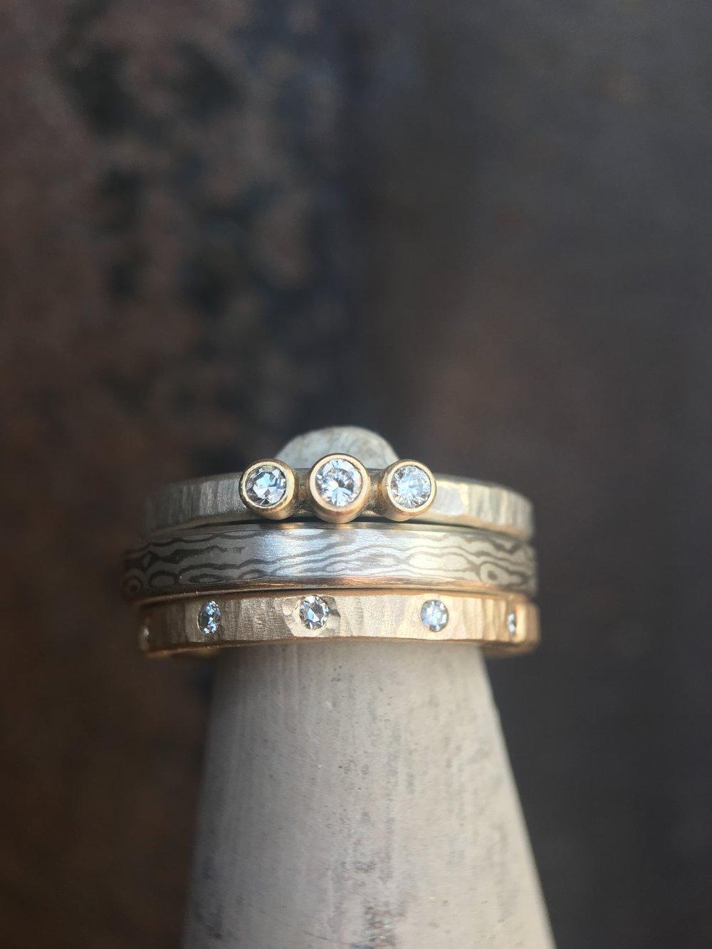 Diamond Mokume' Gane 14KT White Gold 14KT Yellow Gold Ring