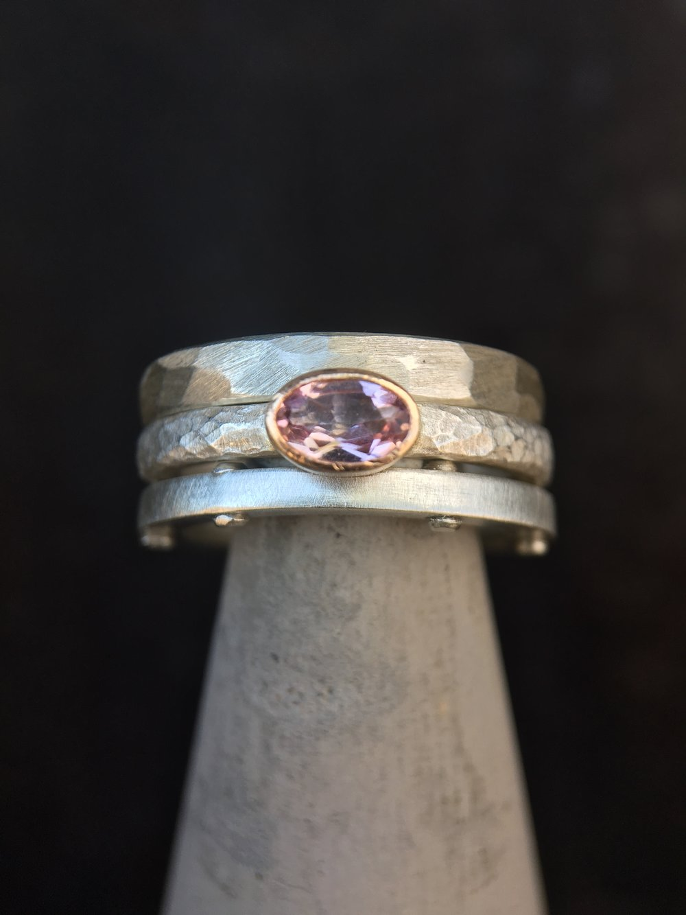 Pink Tourmaline 14KT Yellow Gold Sterling Silver