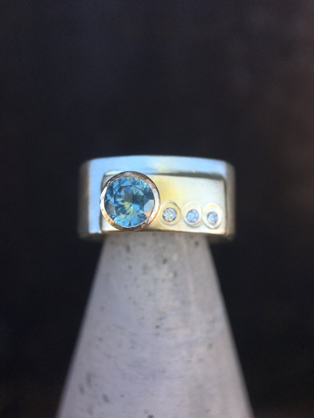 Montana Sapphire Diamond 14KT Yellow Gold Sterling Silver Ring