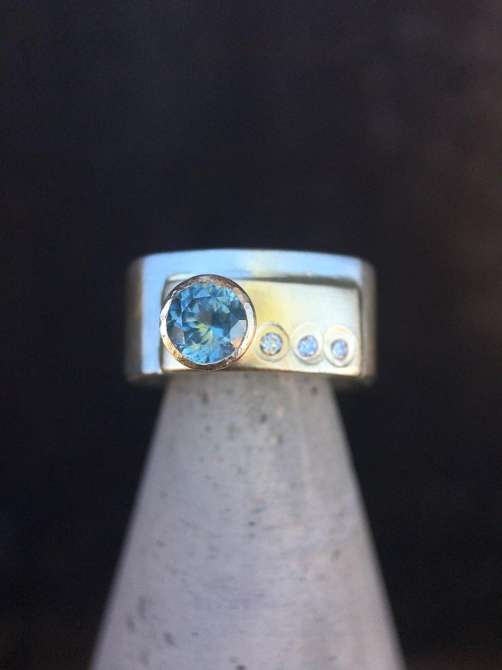 Montana Sapphire Diamond 14KT Yellow Gold Sterling Silver Ring