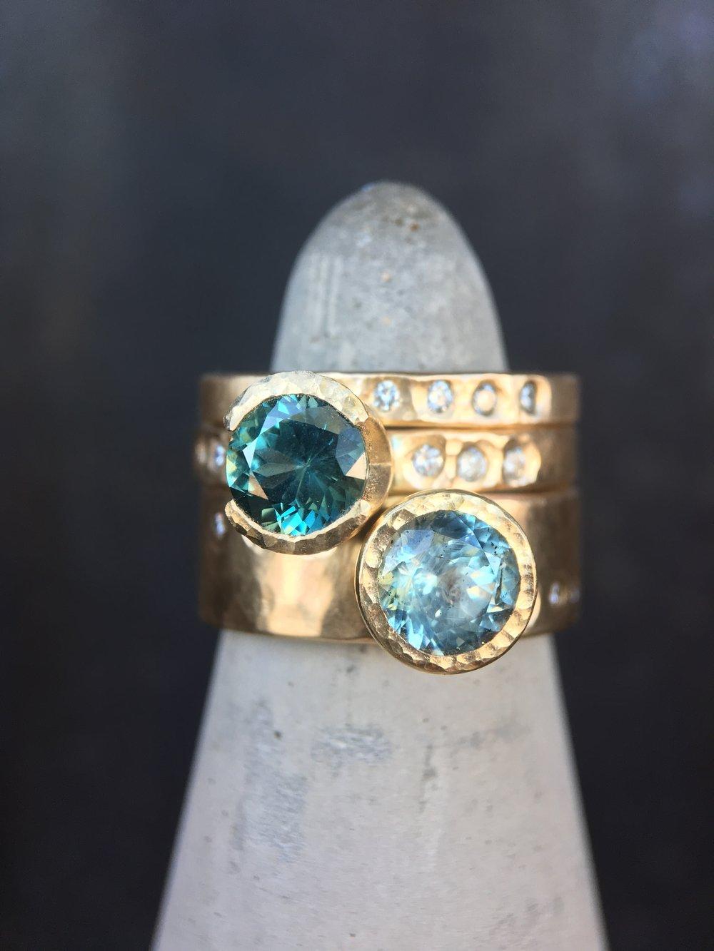 Montana Sapphire Diamond 14KT Yellow Gold Stack Rings