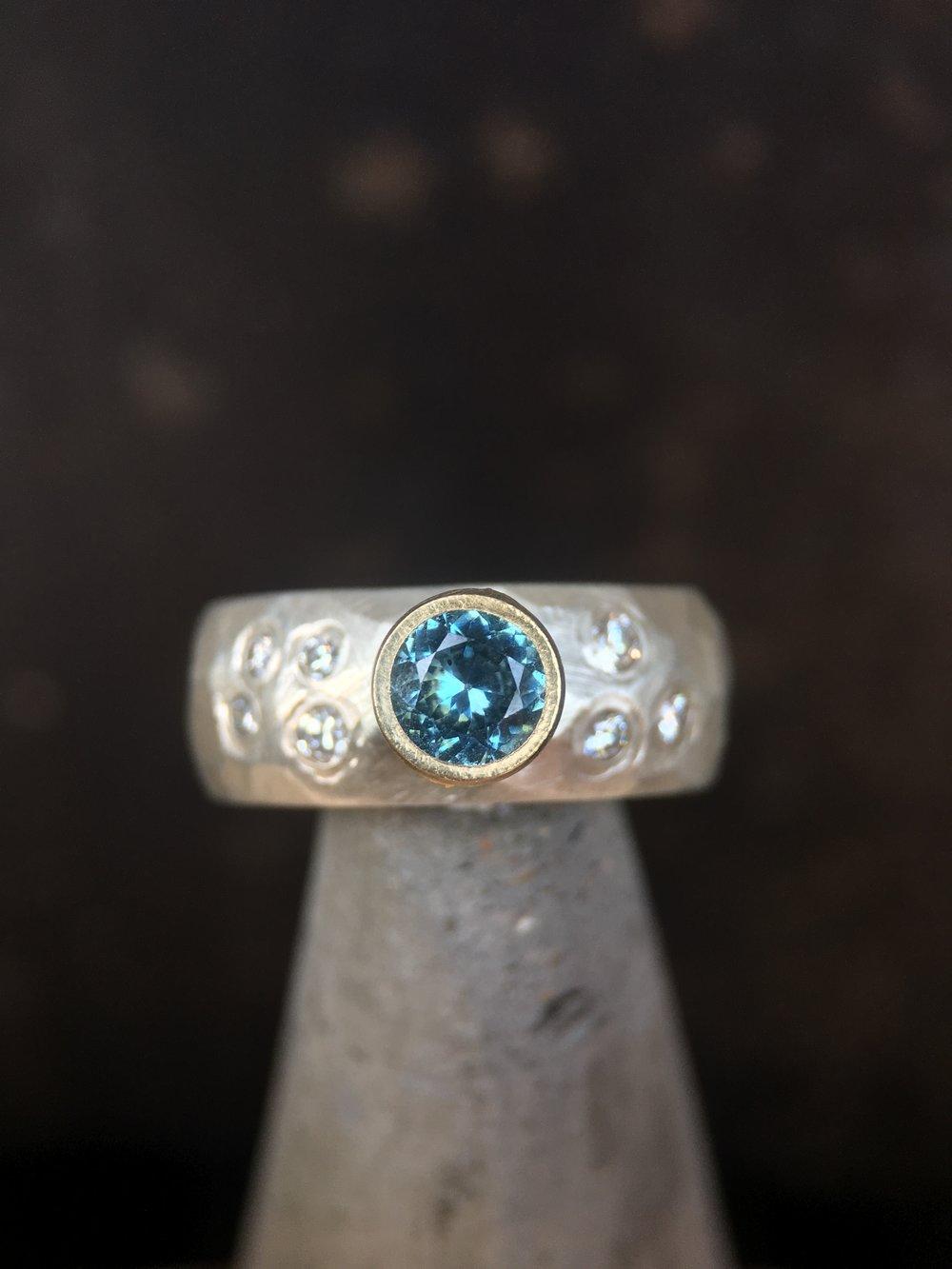 Montana Sapphire Diamonds Sterling Silver 14KT Yellow Gold