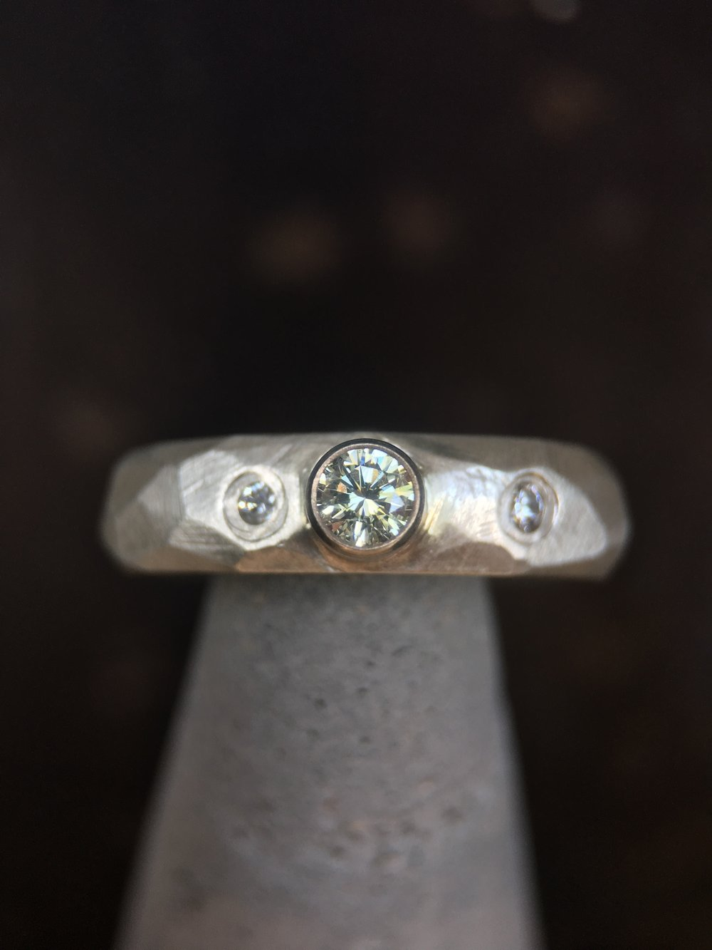 Champagne Diamond Sterling Silver Facet Ring