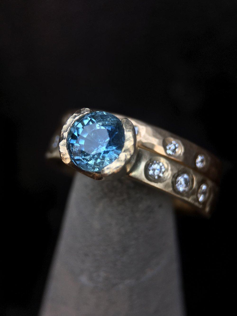Montana Sapphire Diamond 14KT Yellow Gold Ring