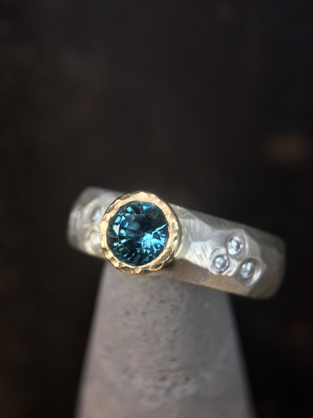 Montana Sapphire Diamond Sterling Silver Facet Ring
