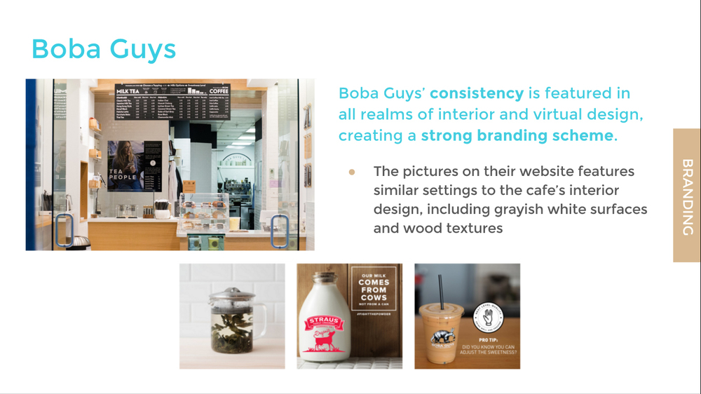 boba guys branding: a sample from our competitive analysis slide deck