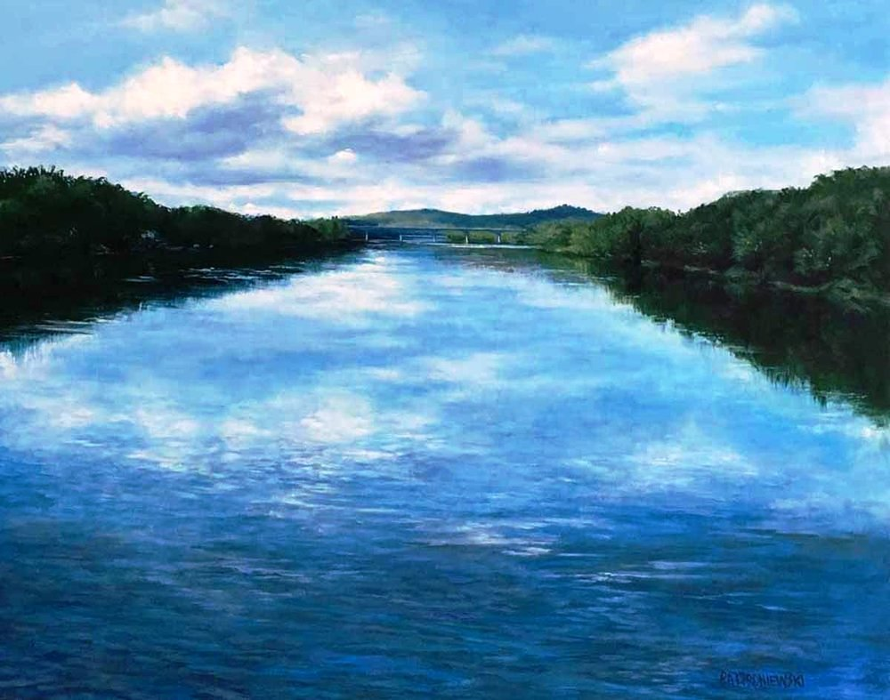 """Currently on exhibit at the New Hope Art League Juried Show at The Conservatory, Skyron Rd, Doylestown, PA. """"The Sky Runs Deep"""" The Delaware River from the New Hope Lambertville Bridge."""