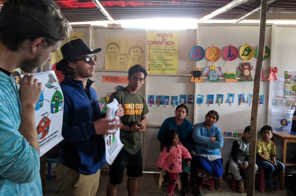 Our work includes educational programs that focus on teaching Water Sanitation and Hygiene (WASH) to kids. Here, we were giving a lesson in Chimbote, Peru.