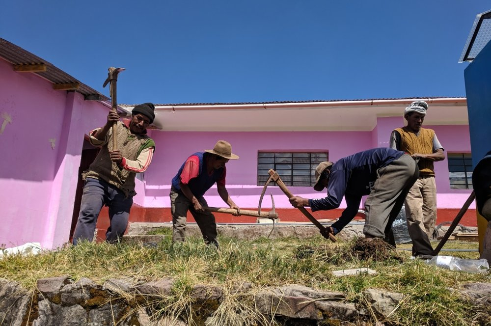 Laying a foundation for one of the water systems that would be installed in Occopata. This one is at the primary school, and now supplies all the kids there with clean water!