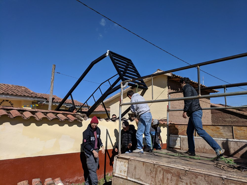 Setting up a structure for water tanks