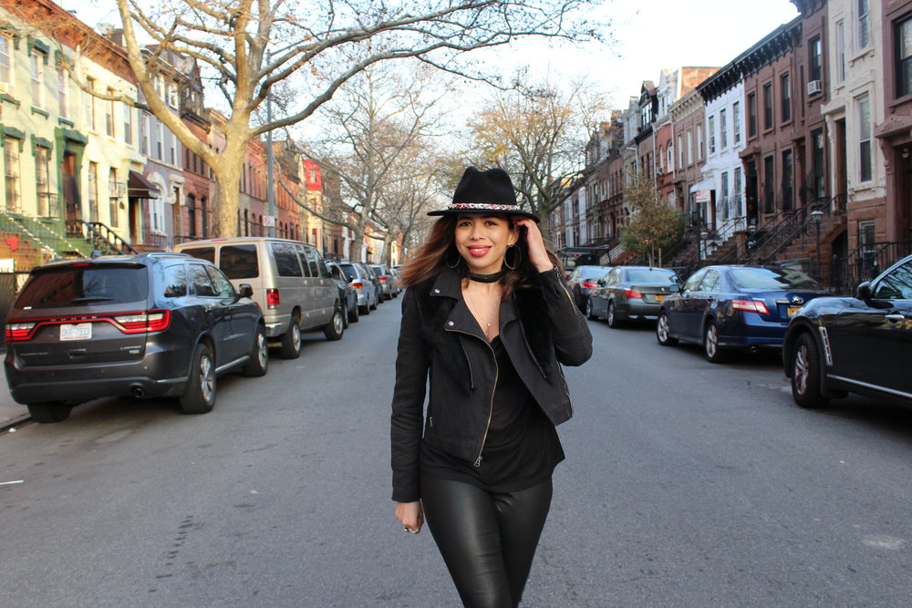 How to style leather leggings. How to wear fur. How to style a fedora.