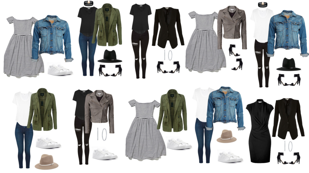 Make ten different outfits using your wardrobe essentials.