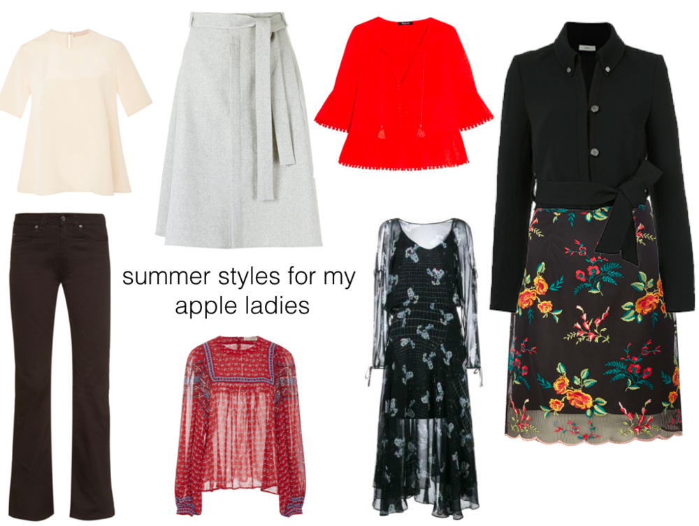 cream top | gray skirt | red top | black jacket | floral skirt | black dress | red + blue top | denim