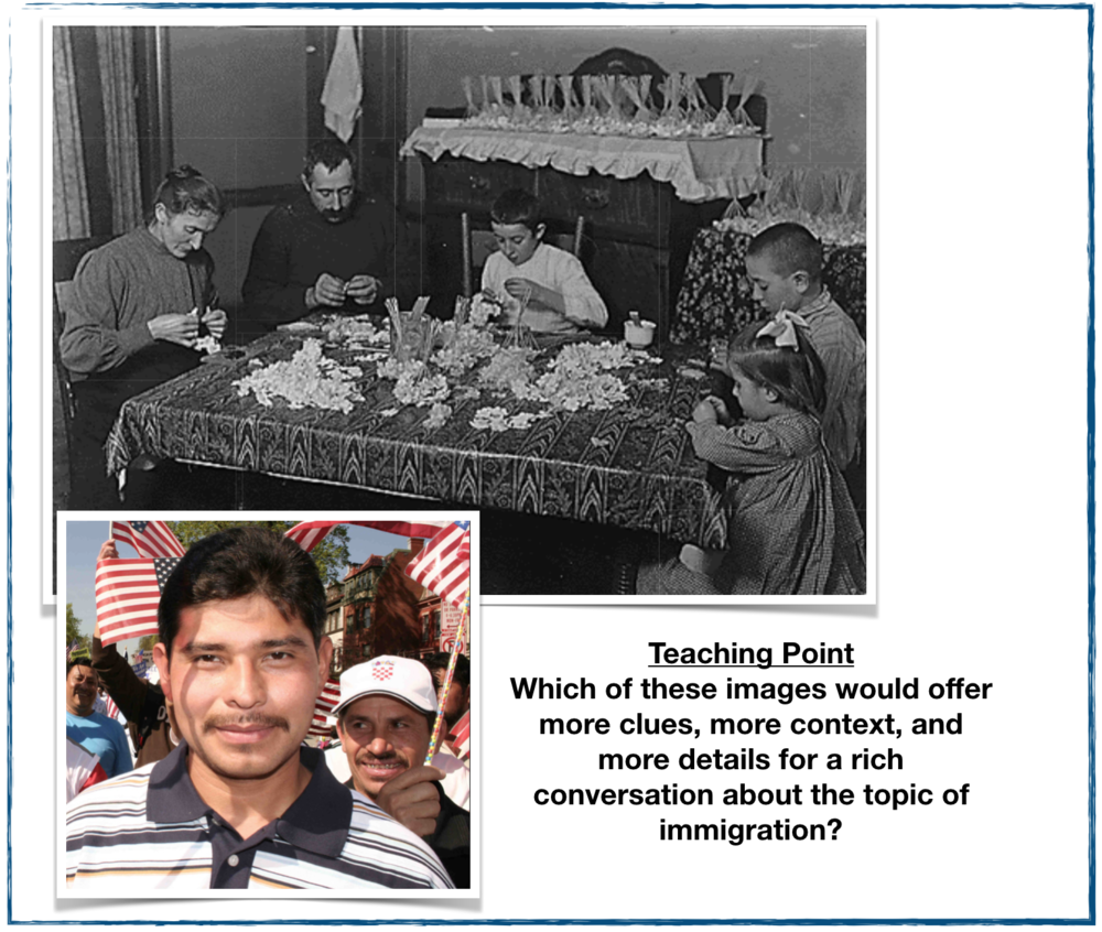 The top image is from a wonderful site that teaches students how to become  Image Detectives . The lower image is from a Google search which turned up an  image  from a 2006 immigration march in Washington D.C.