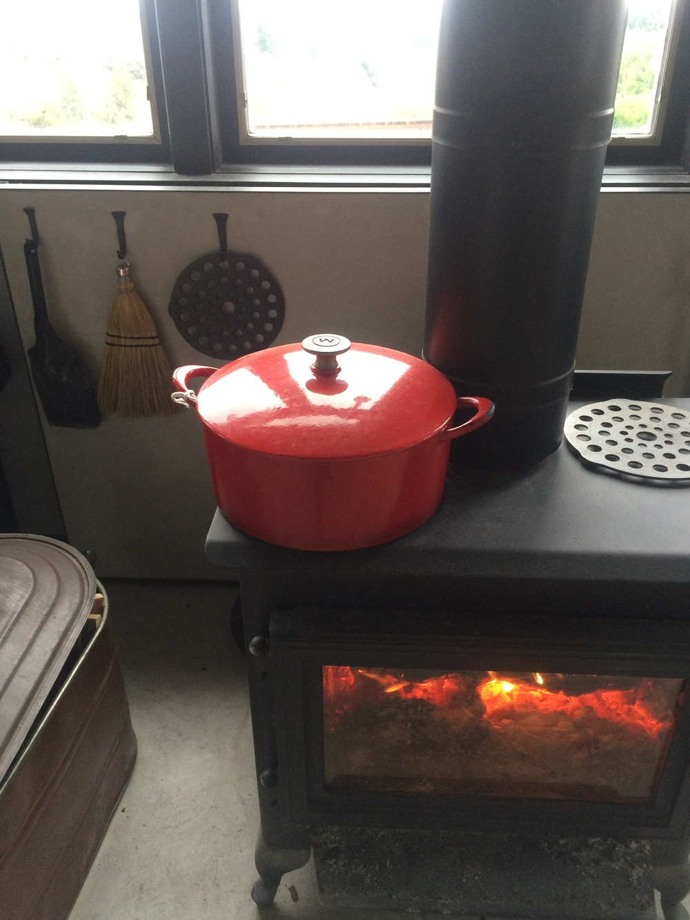 soup cooking on woodstove