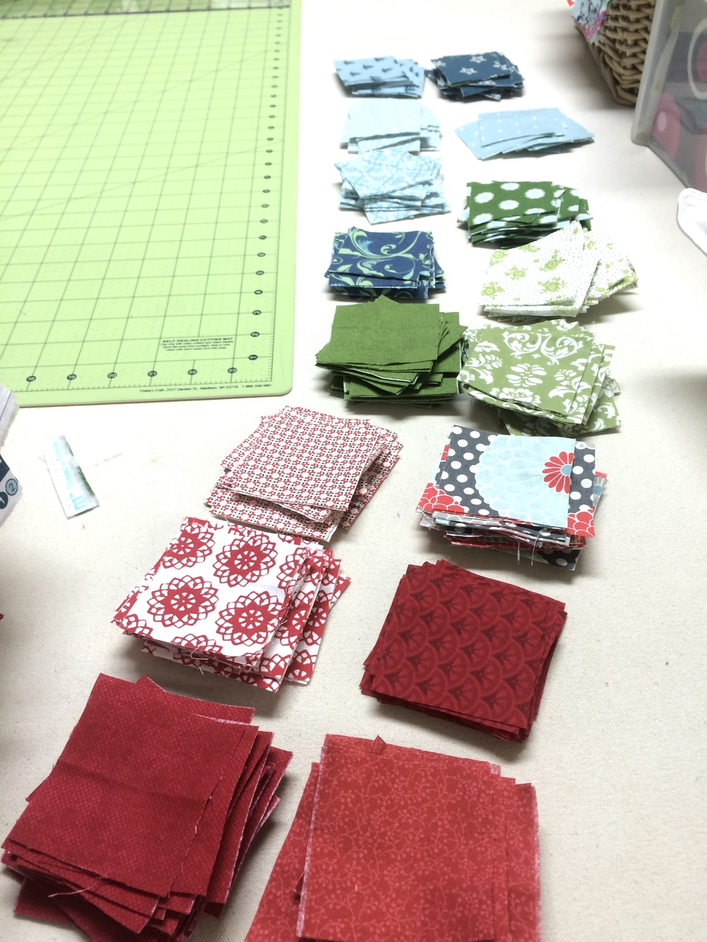 "2 & 1/2"" fabric blocks for quilt"