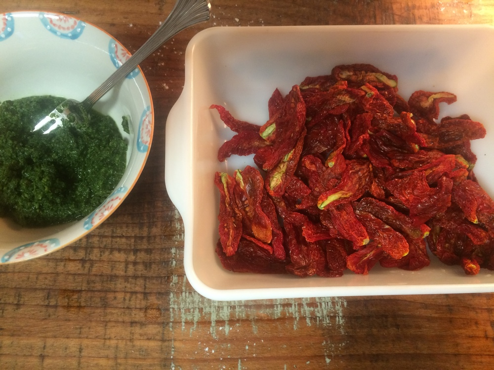 pesto and home dried Roma tomatoes