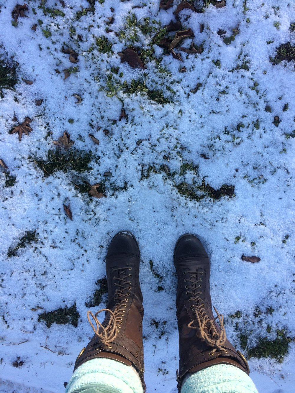 boots in snow.