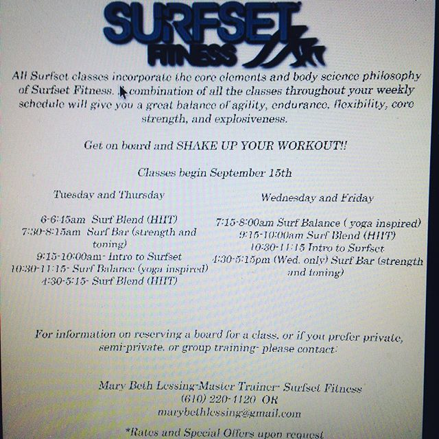 Sooo excited!!! Classes begin Sept15th @drewpatrickspa ! Text, call, or email to reserve your RipSurfer X board and get ready to #shakeupyourworkout #getonboard #surfset #corestrength #workoutwithasmile