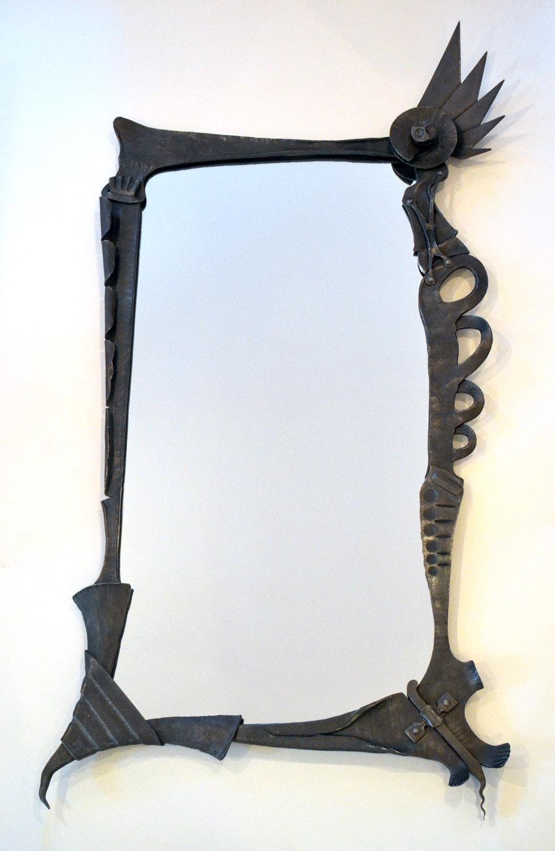 mirror frame for Artfully Insane Tattoo Parlour, steel, mirror, 2013