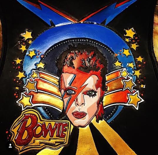 David Bowie hand carved custom purse
