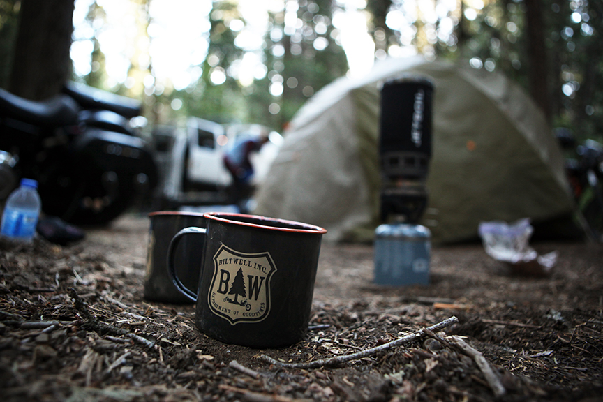 Lifeblood and the ever-useful camp cup. Sand makes a good abrasive for keeping the inside clean. Image by   Geoff Kowalchuk