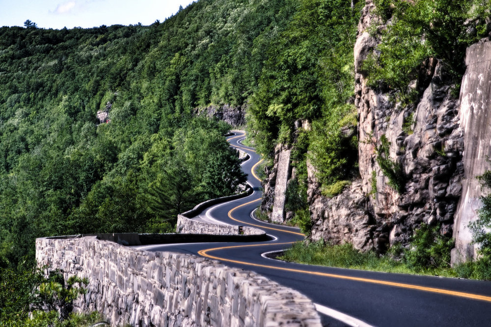 You won't want to miss the Hawks Nest. Virtually on the edge of a cliff, you can rip through this road on the way to and from camp. Towns are on either side for lunch and since its on the Delware river, you can also stop for a swim.