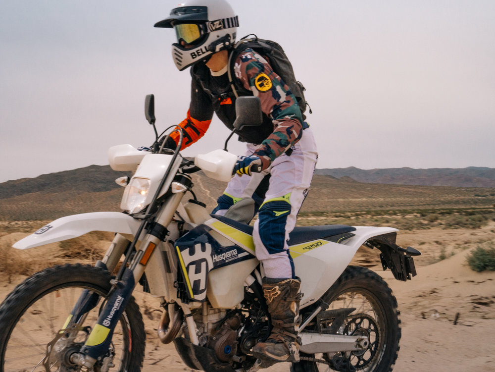 Photo by WLF Enduro. Riding in Johnson Valley wearing my SENA 10C