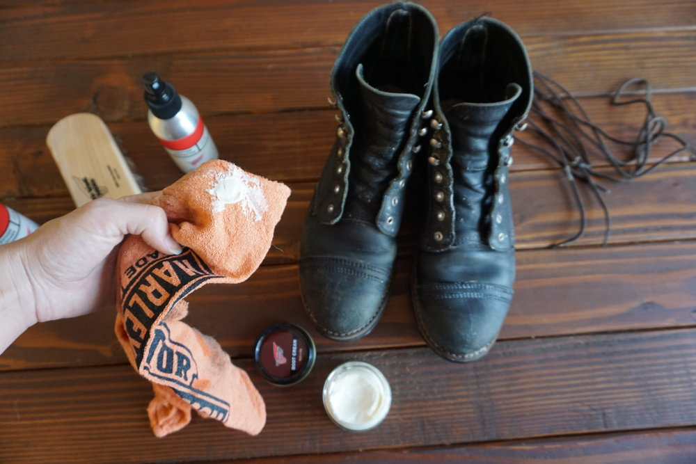 Give the boots a good rub down with the boot cream and let it dry