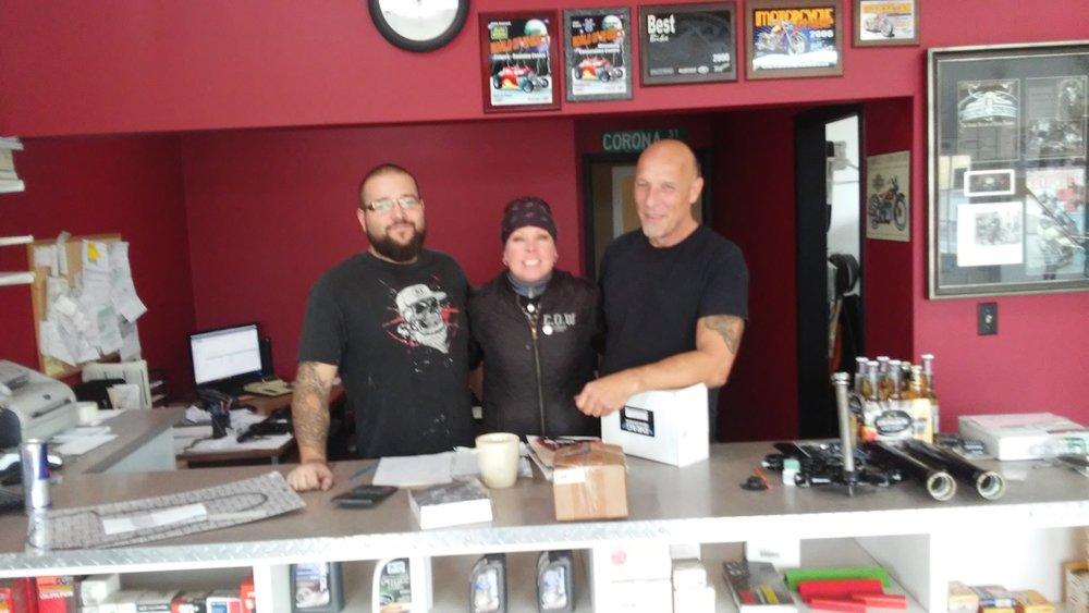 Dustin, myself and John of Howler Custom Cycles in Kamsack Saskatchewan