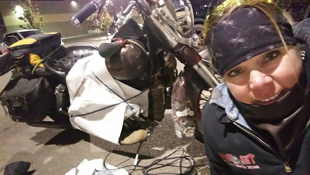 Olga with her bubble-wrap cocoon and block heater – Bismark, North Dakota