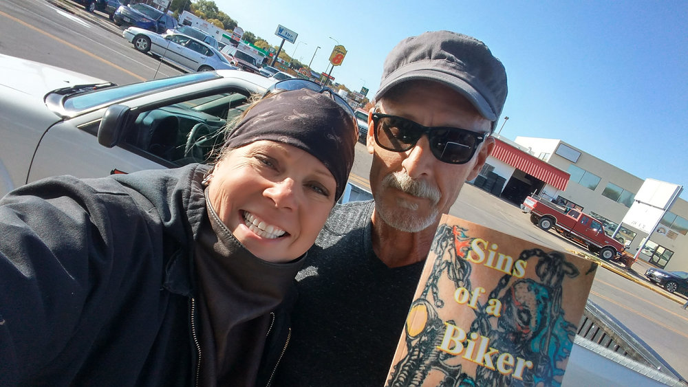 "Rich Hatheway and his book of poetry, ""Sins of a Biker"""