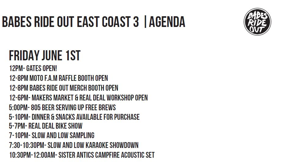 Babes Ride Out East Coast 3 Event Schedule
